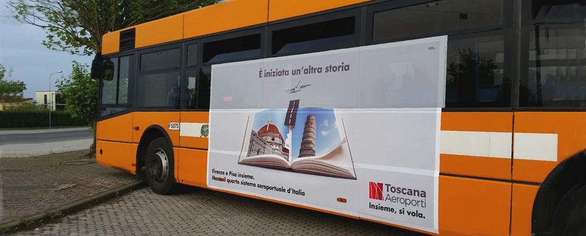 Affissioni su autobus di linea, pubblicità autobus di linea, pubblicità cpt pisa, pubblicità ctt pisa, adesivi su autobus
